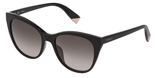 FURLA Sonnenbrille SFU335 700Y 54-18-135 Damen schwarz glänzend Smoke Gradient Brown