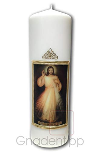 Gnadentipp geweihte Kerze - Jesus ich Vertraue auf Dich, Größe 8 x 25 cm