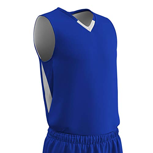 CHAMPRO Pivot Polyester Reversible Basketball Jersey, Youth Medium, Royal, White