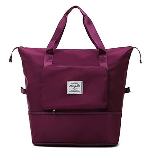 Huakaimaoyi Bolsa deportiva de gran capacidad para mujer, plegable y seca húmeda, bolsa de viaje separada, bolsa de nailon para bolso de compras (rojo púrpura)