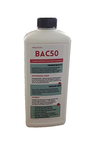 BAC 50 Benzalkonium Chloride 2L. Concentrated Algaecide Bactericide and Fungicide. Antiseptic Detergent and Disinfectant. Multi-USE: Kills Fungus, Mould and Algae