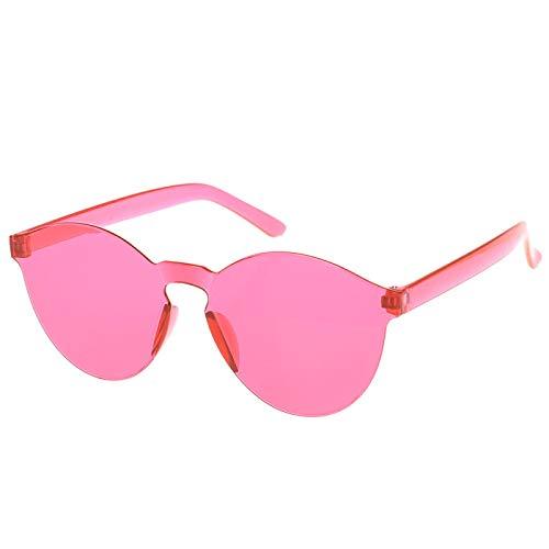 NJJX Gafas De Sol Sin Montura Mujer Productos De Tendencia Rojo Amarillo Violeta Violeta Naranja Sin Marco Rosered