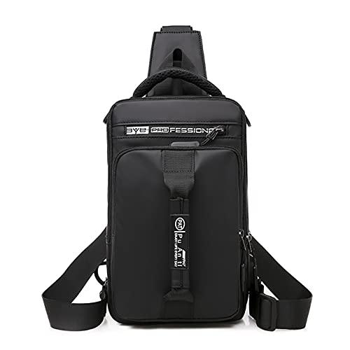 HANDAFA Unisex Praktischer Sling Rucksack Casual Messenger Daypack Mehrzweck-Rucksack mit USB - Schwarz - Einheitsgröße