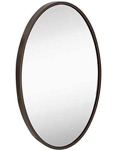 Hamilton Hills Clean Large Modern Wenge Oval Frame Wall Mirror | 24
