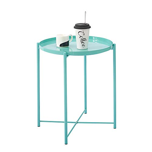 Metal End Table, Detachable Round Iron Tray Small Side Coffee Table, Light Weight Living Room Furniture (Blue)
