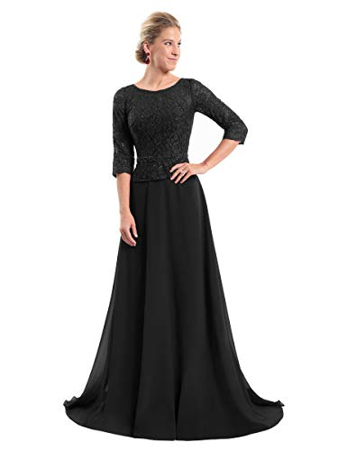 Women's Lace Bodice Chiffon Mother of The Bride Dress with Sleeves Evening Gown Size 10 Black