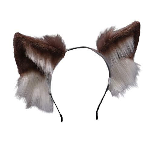 N\A Xiuinserty - Diadema con orejas de lobo peludas en 3D, de piel sintética, para cosplay