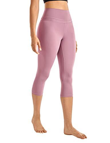 CRZ YOGA Donna Vita Alta Yoga 3/4 Capri Pantaloni Sportivi Leggings con Tasche Sensazione Nuda -48cm Fico -R418 42