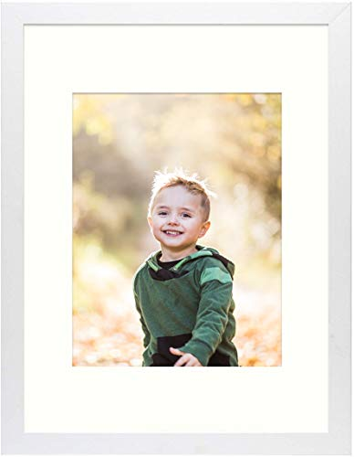 Frametory, 12x16 White Picture Frame - Made to Display Pictures 8.5x11 Photo with Ivory Color Mat - Wide Molding - Built in Hanging Features (12x16, White)