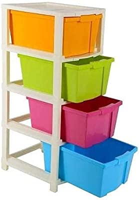 Maruti Creation Modular Storage Cart and Organizer with Drawer, Multicolour, 4-Layer, 1.96 x 3.93 x 3.93 inches
