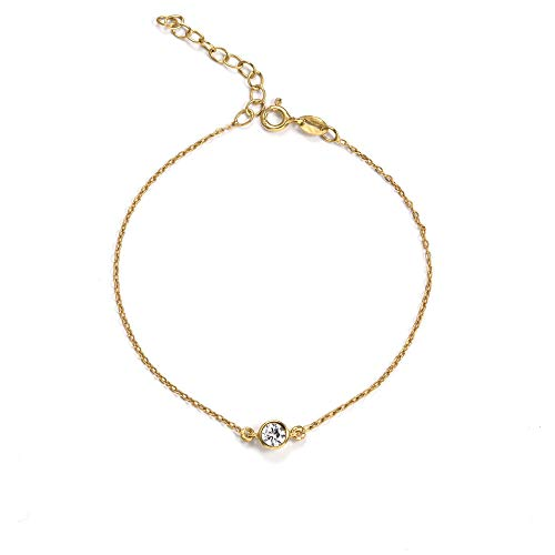 SINGULARU ® - Pulsera Diamond Oro para Mujer Plata de Ley 925 con baño de Oro de 18k - Joyas mujer