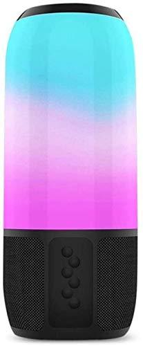 DAMAI STORE HYY TWS Bluetooth 5.0 Wireless Speaker Smart RGB Light IPX6 Waterproof Hi Fi Sound 8h Duration Time Portable Speaker,Black