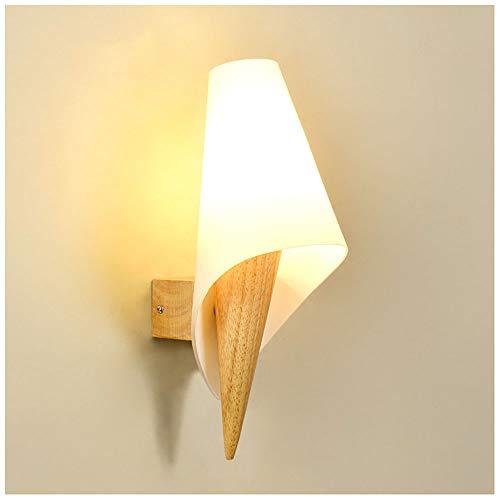 Aplique de Pared Creativa de Madera de Estilo Simple, Lámpara de Pared de Madera Maciza con Pantalla de Cristal E27 Moderna Interior Luz de Pared para Dormitorio Sala de Estar Estudio Pasillo Escalera
