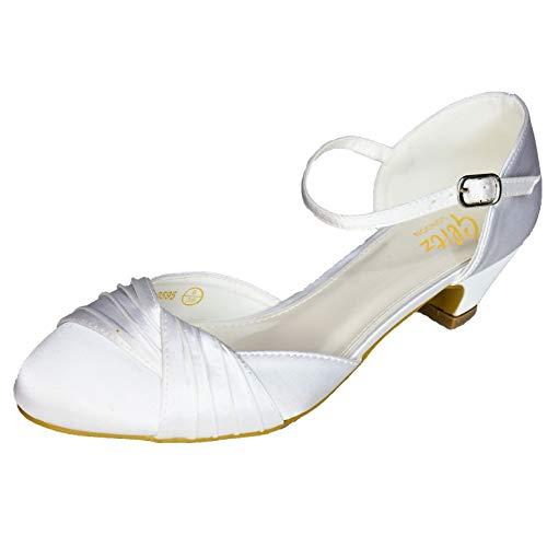 Zapatos de tacón bajo de satén para mujer, correa al tobillo, para...