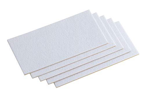 Metafranc Filz-Gleiter 100 x 200 mm - selbstklebend - weiß - 5 Stück - Effektiver Schutz Ihrer Möbel & Stühle / Möbelgleiter-Set für empfindliche Böden / Stuhlgleiter / Filz-Zuschnitt / 645436