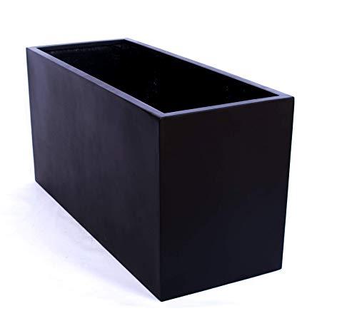 Pflanztrog Blumentrog Raumteiler Fiberglas rechteckig LxBxH 120x50x55cm elegant schwarz-matt
