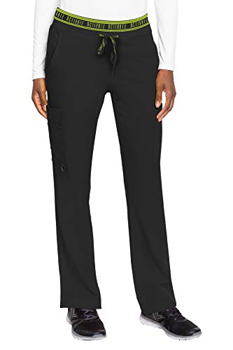 Med Couture Women's Activate Flow Yoga Two Pocket Cargo Scrub Pant, Black, Medium