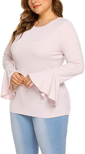 Zeagoo Women Plus Size Long Bell Sleeve Casual Blouse Shirts Round Neck Tunic Top Grey 22 Plus product image