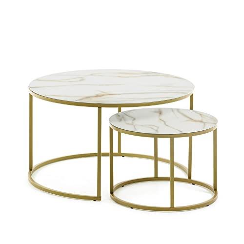 Kave Home - Set de 2 mesas auxiliares Nido Leonor Redondas Ø 80 / Ø 50 cm de Cristal Templado Efecto mármol y Estructura de Acero en Dorado