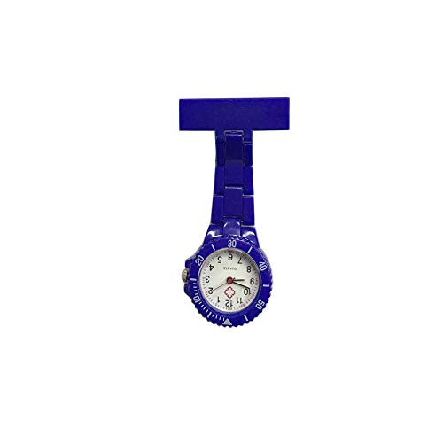 B/H Reloj de bolsillo de metal para mujer, reloj de bolsillo médico con pin, reloj de bolsillo de enfermera de acero inoxidable-azul, reloj médico de solapa