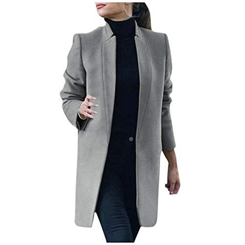 Stehkragen Wolle Trenchcoat 2XL Grau 300359 (dufflecoat damen mantel mit kapuz parka winterjack new chic mode damen jacke lolita black friday 2019 angebote outwear women wool coat holzdeko weihnac)