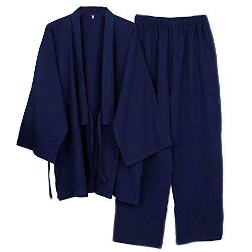 Fancy Pumpkin Japanische Herren Meditations Robe Doppel Gaze Baumwolle Bademantel Kimono Pyjama Nachthemd [Navy, Gr??e XL]
