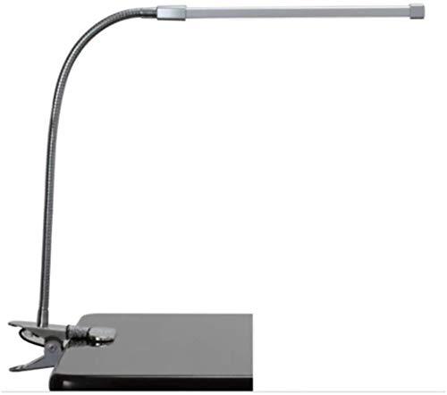 LED oogbescherming tafellamp, Dimmen leren tafellamp, kinderkamer leesvoer smeedijzeren met clip slaapzaal lamp, Zilver, Goud (Color : Silver)