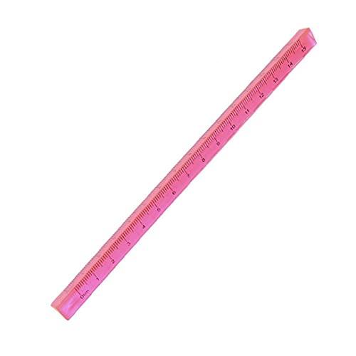 Regla triangular 15 cm Plástico Regla recta práctica Estudiante Estudiante Papelería Doble Escala de medición Herramienta de medición Suministros Escolares de Color aleatorio Suministros Escolares