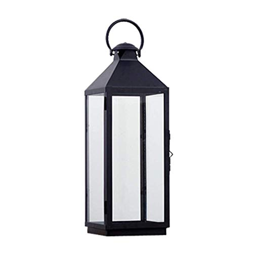Yxxc Linterna de Vela de Metal Negro, Linterna de candelero Decorativa Vintage con Vela de Pilar led para Eventos en Interiores al Aire Libre, Fiestas, Bodas