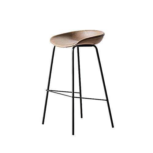Muebles Taburetes de bar Taburetes de bar Taburetes de bar elegantes Asientos de cuero de PU vintage Cómodo reposapiés con marco de acero Hogar Negocio Bar Café Cocina Asientos de silla Altura 65Cm,