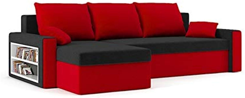 Sofini Ecksofa Drive mit Schlaffunktion  Best Ecksofa  Couch mit Bettkasten und Regalfcher  (Haiti 17+ Haiti 18)