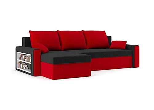 Sofini Ecksofa Drive mit Schlaffunktion! Best Ecksofa! Couch mit Bettkasten und Regalfächer! (Haiti 17 Haiti 18)