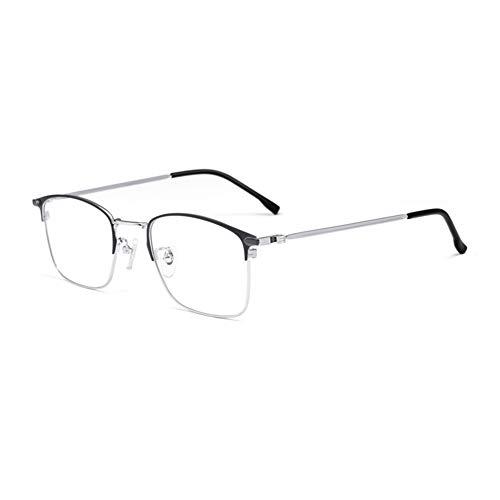 HQMGLASSES Gafas Lectura luz Anti-Azul progresivas progresivas Inteligentes para Hombres, Lentes Resina Alta definición Marcos Negocios aleación Ultraligera Lector dioptrías +1.0 a +3.0,Gris,+1.75