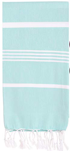 Organic Prewashed, Soft , Cotton Peshtemal Towels Pestemal Towel Best for Travel Camping Bath Sauna Boho Beach Towels Absorbent Stylish Eco Friendly Thin Towels, 70x37 Inches ( Fair Aqua)