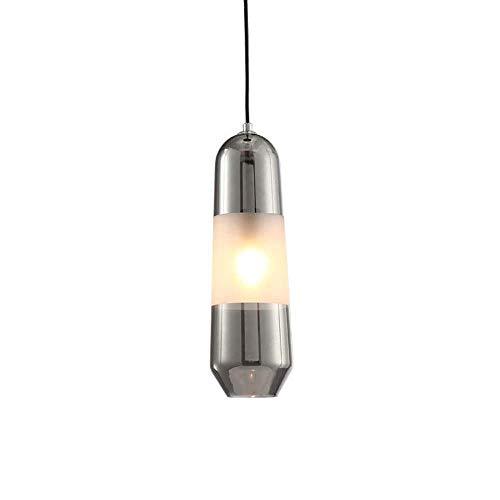 LLLQQQ Luz de techo Hotel Room Otro botón estilo sala de estudio araña moderna minimalista lámpara de cristal nórdico Lámparas 12cm* 28cm (gris humo) Decoración
