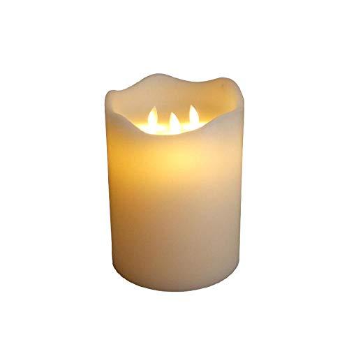 3 stoppini 15*20 cm, senza fiamma funzionamento a batteria candele LED in vera cera, tremolante luce bianca calda candele elettriche, proposta di matrimonio, feste, Camera da letto Candele decorative