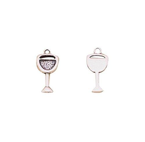 20 stks Wijnglas Charms Hangers voor Sieraden maken Vintage Antieke Verzilverde DIY handgemaakte