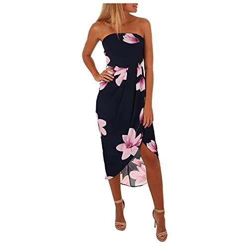 Damen Abendkleider Lange Sommerkleid Damen Sexy Kleid Eine Schulter Maxikleid Sleeveless Backless Bodycon Dress Club Party Streetwear Partykleid