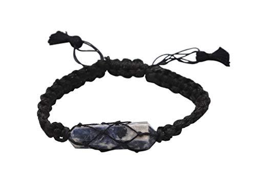 Blessfull Healing Reiki varita de doble punto piedra de sodalita ajustable hilo negro pulsera joyería para Unisex