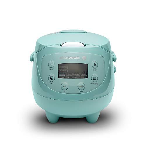 Digitaler Reishunger Mini Reiskocher und Dampfgarer in Mint - Warmhaltefunktion, Timer & Premium Topf - kleiner Multikocher, 8 Programme, 7-Phasen-Kochtechnologie, 1-3 Personen