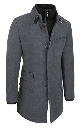 Evoga Cappotto Uomo Sartoriale Elegante Slim Fit Invernale Giacca Soprabito con Gilet Interno (XL, Grigio)