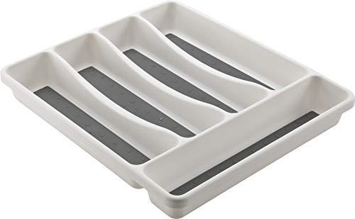M-Home | Range Couverts pour Tiroir / 5 Compartiments | Plastique | Blanc | 31 x 27 x 4,5 cm | SPACE...