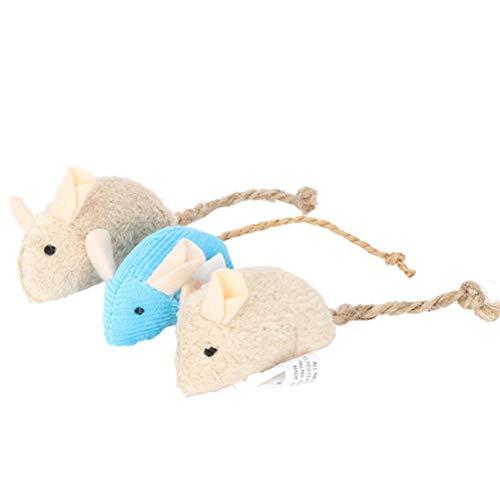 Balacoo - Juego de 3 ratones realistas para animales de compañía, juguetes interactivos, mini divertido de peluche para Kitty gatito, color beige y azul