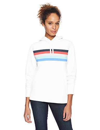 Amazon Essentials Sudadera con capucha y cremallera French Terry Fleece fashion-hoodies, White Rainbow Stripe, US L (EU L - XL)