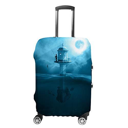 Ruchen Funda para maleta misteriosa luna azul faro de pesca cubierta protectora para maleta de equipaje de varios tamaños