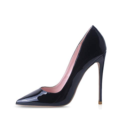 Elisabet Tang High Heels, Womens Pointed Toe Slip on Stilettos Party Wedding Pumps Basic Shoes BK 8 Black