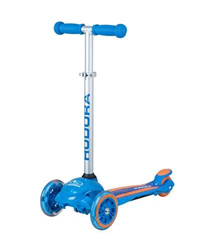 HUDORA 11064 Flitzkids Glow | Tretroller blinkenden LEDs | Kinder Scooter Roller Kickscooter, Blau