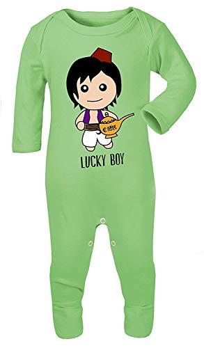 Colour Fashion Aladdin Lucky Boy Imprimé Déguisement Pyjama Footies 100% Cotton Hypoallergénique - Vert, 3-6 Months