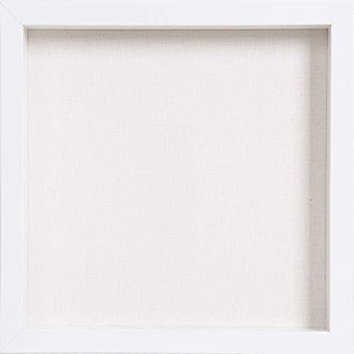 Muzilife 3D Bilderrahmen zum Befüllen 30x30cm Tiefe Box Objektrahmen mit Glasscheibe 1 Stück, Weiß