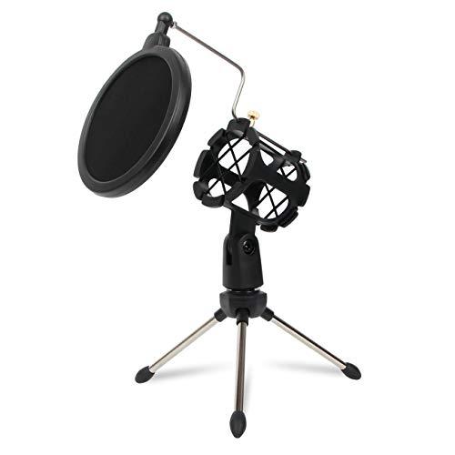 Depusheng Soporte de condensador de estudio ajustable trípode de escritorio para micrófono soporte con cubierta de filtro de parabrisas